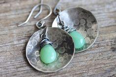Mint Green Earrings Chrysoprase Gemstone Earring by madebymoe, $46.00