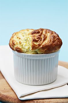 Goat cheese soufflés with fresh thyme and lemon