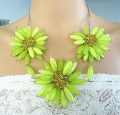Lime green wired flower statement necklace by Trendysky on Etsy, $12.99