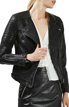 Topshop Nelly Faux Leather Biker Jacket available at #Nordstrom