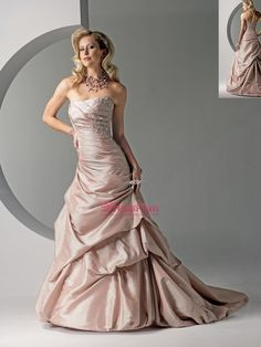 Splendid Strapless Pink Ball Gown Taffeta Nuptial Gown of Beaded Bust and Lace-Up Closure