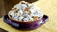 Pecan Pie Chex™ Mix - Salty, sweet and nutty—this Chex™ cereal mix will disappear just as quickly as you can make it! Chex Mix Recipes, Snack Recipes, Appetizer Recipes, Dessert Recipes, Game Recipes, Appetizer Ideas, Yummy Snacks, Delicious Desserts, Yummy Treats