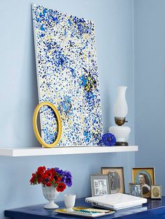 Splatter Art - Bring a Jackson Pollock-inspired piece to your home at a DIY price tag. Place a large stretched canvas on a drop cloth. Drip, drizzle, and splatter paint until you have a design you love. Experiment with old paintbrushes, toothbrushes, and splatter tools to create different effects.