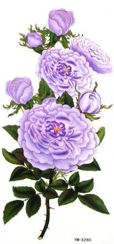 "Tattoo size 7.28""x3.54"" long last and non toxic fake temp tattoos colored flowers and purple elegant peony. Safe and non-toxic design ideal for body art. Professional grade made to last 3 to 5 days and easily transferred by water. Perfect for vacations, girls night, pool parties, bachelorette parties, or any other event you want to look glamorous."