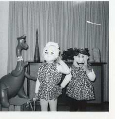Pebbles and Fred Flinstone-Vintage Halloween-1960's.