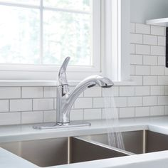 Improve both the form and function of your kitchen with a Moen® Medina Single-Handle Kitchen Faucet. Featuring soft, clean curves coated in a Chrome Finish, this faucet includes a pull-out design for flexible spray and reliable water delivery.