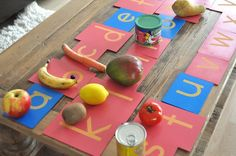 "Matching sandpaper letters with food items starting with the same initial sounds - by SortingSprinkles ("",) Head Start Preschool, Preschool Food, Preschool Kindergarten, Preschool Crafts, Preschool Ideas, Montessori Activities, Alphabet Activities, Fun Activities For Kids, Classroom Activities"