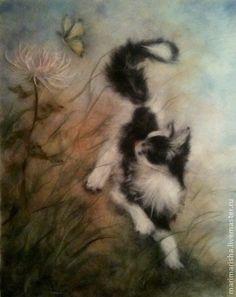"""Картина из шерсти """"Игра с мотыльком"""" - бежевый,оригинальный подарок,картина из шерсти"""