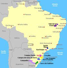 Mapa de regiones vitivinícolas de Brasil #WineLovers #AmarasElVino