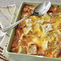 Ham and Cheese Strata - Breakfast Casserole Recipes - Cooking Light Gluten Free Recipes For Breakfast, Gluten Free Breakfasts, Brunch Recipes, Brunch Foods, Healthy Breakfasts, Healthy Dinners, Breakfast Bake, Breakfast Casserole, Breakfast Ideas