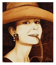 """""""Audrey"""" - painted with Folgers Black Silk coffee"""