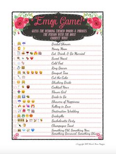 Rustic Chalkboard Theme Pink Bridal Shower Game Idea Emoji Pictionary DIY PDF Instant Download Printable File PDF