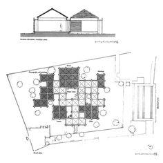 Gandhi Smarak Sangrahalaya at Sabarmati Ashram Architecture Concept Diagram, Architecture Plan, Contemporary Architecture, Beam Structure, Museum Plan, Brick Columns, Memorial Museum, Roof Plan, Library Design