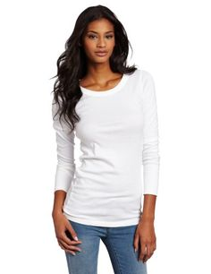 One of Michael Stars bestselling bodies this tee features a raw edge detail and a crew neckline...
