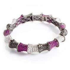 Pre-owned 18K White Gold Multi-Diamond & Ruby Bangle ($9,632) ❤ liked on Polyvore featuring jewelry, bracelets, white gold diamond bangle, diamond jewelry, diamond bracelet bangle, bracelets bangle and hinged bracelet