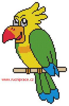 Parrot, free cross stitch patterns and charts - www.free-cross-stitch.rucniprace.cz