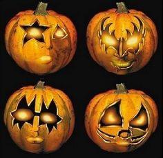 KISS Halloween pumpkins - next year jack o lanterns Halloween Kiss, Gothic Halloween, Halloween Pumpkins, Halloween Humor, Halloween Magic, Halloween Design, Halloween House, Halloween Stuff, Halloween Ideas
