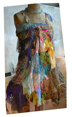 Art To Wear Dress COLORFUL TRIBAL Hippie Gipsy by Paulina722