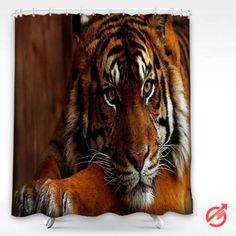 Cheap Tiger predator head face Shower Curtain