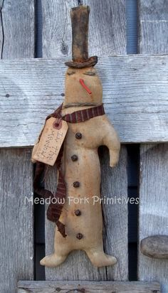 Extreme Primitive Meadow Snowman by MeadowForkPrims on Etsy, $19.00