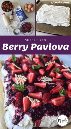 A huge pavlova topped with fresh cream, berry coulis and fresh strawberries. Christmas Ice Cream, Christmas Ham, Christmas Foods, Christmas Appetizers, Christmas Recipes, Xmas, Cold Desserts, Desserts For A Crowd, Just Desserts