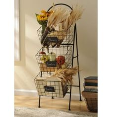 Whether you need storage space in your kitchen or your living room, this 3-Tier Basket Tower will do the trick. The baskets even detach so you can carry them with you! #kirklands #FrenchCountryDining #tower