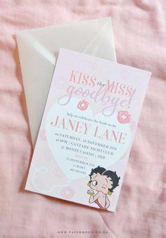 FREEBIE! Betty Boop Bachelorette Printable Kit ⋆ Papermoon Bachelorette Invitations, Ribbon Yarn, Book Posters, Glue Dots, Stationery Set, Betty Boop, Envelope, Bridal Shower, Poster Prints