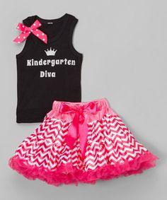Another great find on #zulily! Black & Pink 'Kindergarten Diva' Tank & Pettiskirt - Girls #zulilyfinds