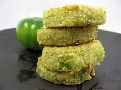 Fried Green Tomatoes vegan, plantbased, earth balance, made just right Vegetable Recipes, Vegetarian Recipes, Cooking Recipes, Healthy Recipes, Vegan Side Dishes, Food Dishes, Vegan Foods, Vegan Snacks, Beignets