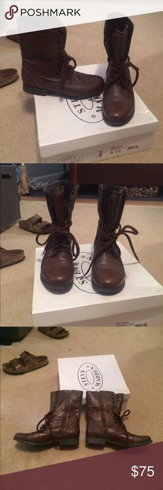 Steve Madden Troopa combat boots Worn 5 times at max. Excellent condition. No flaws on the leather. Paid $110 Steve Madden Shoes Combat & Moto Boots