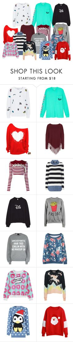 """""""Mabel's Sweater Collection"""" by veewers ❤ liked on Polyvore featuring Mira Mikati, Victoria's Secret, Boris, House of Holland, Dorothy Perkins, Adolescent Clothing, Private Party, WithChic, Wildfox and Glamorous"""