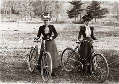 vintage everyday: Two women stop during a bicycle ride around the Schenectady area, ca. 1900