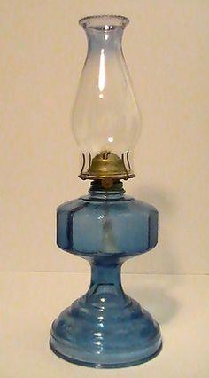 Vintage 1955 Kerosene Lamp, pebbled glass