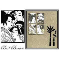 handmade card ... Geisha, Frame, Japan, Rubber Stamp ... embossing folder texture ... luv the split panel in black and white on kraft ...