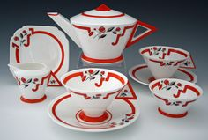 Vogue Red J Tea For Two   Shelley 1930s   Desired Antiques & Collectables
