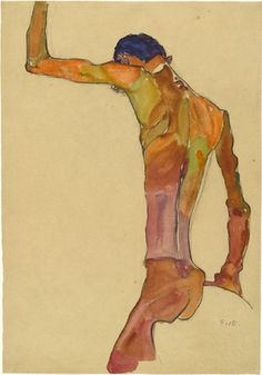 Egon Schiele (Austrian, 1890-1918)  Standing Male Nude with Arm Raised, Back View