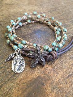 Starfish & Mermaid Multi Wrap Crochet, Leather Bracelet, Anklet, Necklace Beach Chic