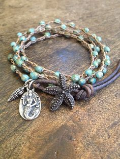 "Starfish & Mermaid Multi Wrap Crochet, Leather Bracelet, Anklet, Necklace ""Beach Chic""$38.00"