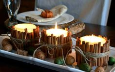 Easy DIY Christmas Decor: Cinnamon Candle Stand