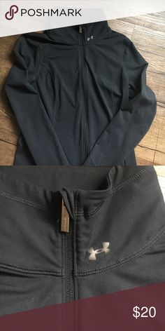 Women's Under Armour full zip fitted jacket Black fitted spandex Under Armour full zip jacket. Really comfy. Light wear. Under Armour Jackets & Coats
