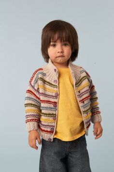 """(via COLORED STRIPED CARDIGAN-MALE-FEMALE SIZES 12-18 months 2-4 years irons from 5.5 to 6.5 wool or cotton. """"The Jersey Marica) lionbrand pattern translated into Italian"""