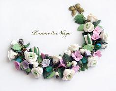Floral bracelet Rose bracelet Polymer clay jewelry by PommeDeNeige