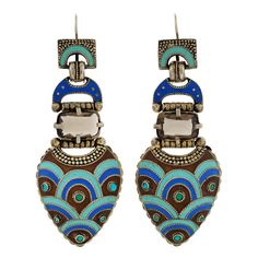 Late Art Deco Theodor Fahrner Enamel & Topaz Sterling Earrings | From a unique collection of vintage dangle earrings at http://www.1stdibs.com/jewelry/earrings/dangle-earrings/