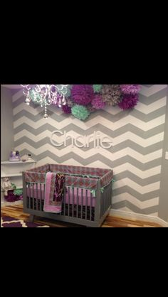 I love the chevron wall! And the lanterns, diff colors for our nursery tho