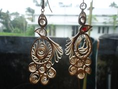How to make Paper Peacock Quilling EARRING Malayalam Tutorial OH THE COLORS I CAN MAKE THESE IN!