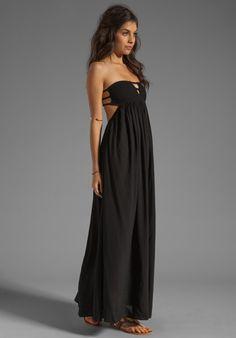 INDAH Flamingo Smocked Bandeau Cutaway Maxi Dress in Black at Revolve Clothing