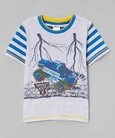 Another great find on #zulily! Beige & Blue Stripe Monster Truck Tee - Infant & Toddler #zulilyfinds