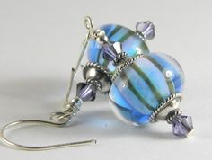 'Artisan Handmade Lampwork Earrings Sultan Stripes' is going up for auction at  9am Sat, Nov 24 with a starting bid of $1.