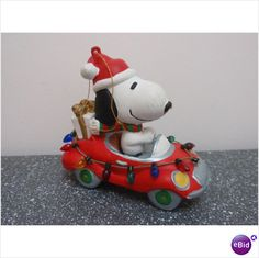 Snoopy in Christmas Decorated Race Car
