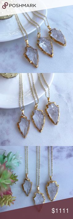 """Gold Crystal Quartz Arrowhead Necklaces 22k gold electroplated natural clear crystal quartz arrowhead • 18k gold plated chain • chain length 18"""" • chain length can be customized • handmade in El Paso, TX  2 left // 5 star rated! Simple Sanctuary Jewelry Necklaces"""